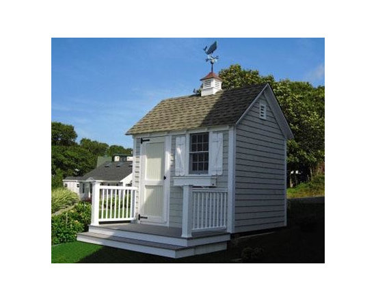 "8' x 10' Quivett - Pre-dipped Cape Cod Gray cedar shingles can be seen on the front and one gabled end.  Remaining walls are board and batten siding.  30 year architectural roof shingles.  There is a 21"" x 41"" PVC double hung window with z brace shutters and a 36"" two-paneled, bead board door with strap hinges.  The 16"" copper top cupola has a Whale Weathervane and the 30"" Bullnose Window Box is crafted in Walpole solid cellular vinyl.  Deck and railings are sold separately."