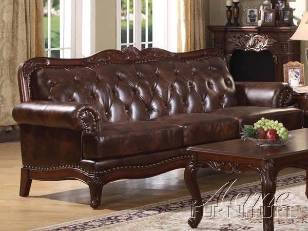 Acme Furniture Birmingham Tri Tone 100% LEATHER Sofa