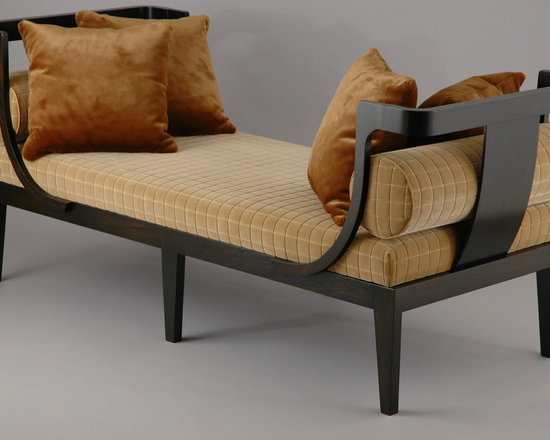 Boutros Chaise - Art | Harrison Collection - This classically inspired double ended daybed combines traditional lines and modern aesthetics. Constructed using solid mahogany in an ebony finish it features cashew colored cut velvet upholstery and faux fur pillows.