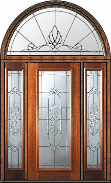 Prehung sidelights transom door 80 mahogany kensington - 30 x 80 exterior door with pet door ...