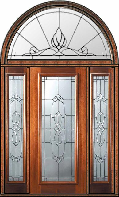 Prehung Sidelights Transom Door 80 Mahogany Kensington