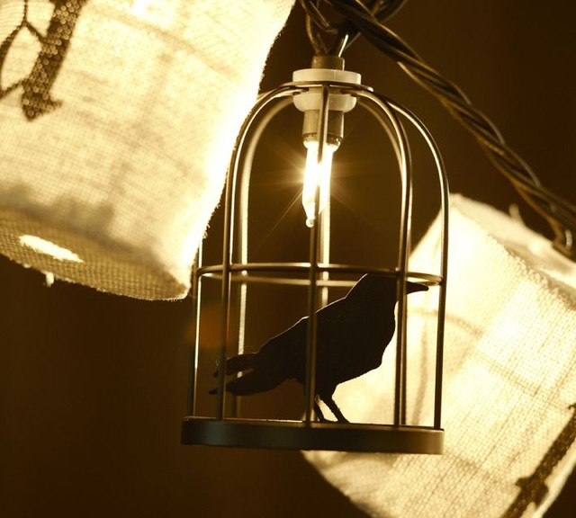 Caged Crow String Lights modern holiday decorations