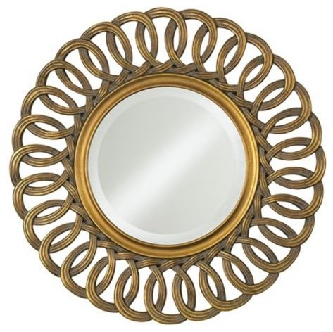 Antique Gold Linked Loops Round Wall Mirror contemporary-mirrors