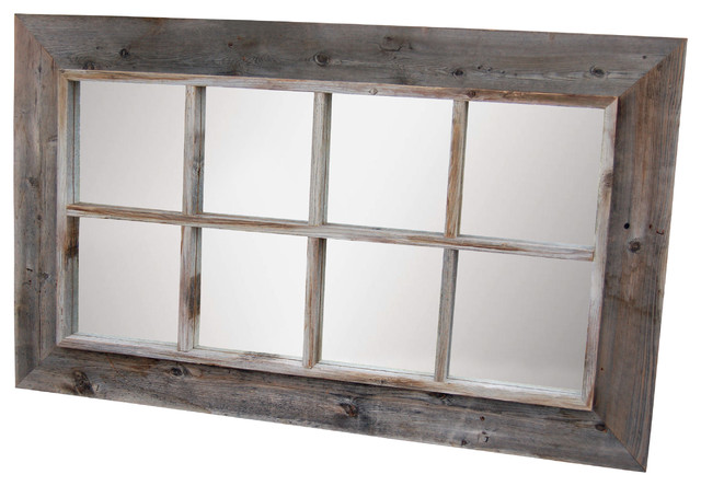 8 Pane Window Pane Mirror Reclaimed Barnwood 25x45