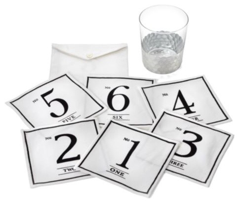 Numbers Fabric Coasters modern-wine-and-bar-tools