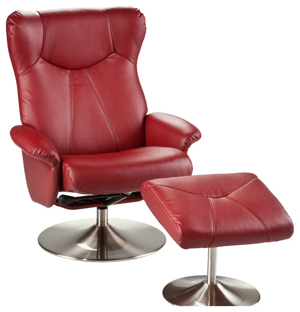 Brayden Leather Recliner And Ottoman Brick Red