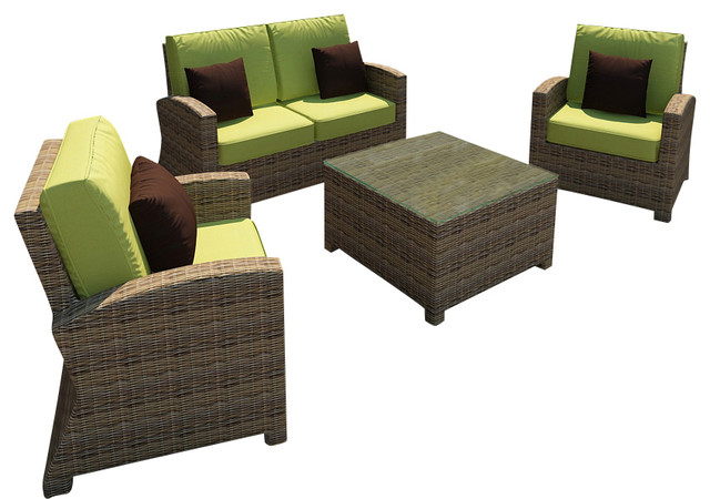 Cypress 4-Piece Outdoor Wicker Sofa Set, Kiwi Cushions contemporary-patio-furniture-and-outdoor-furniture