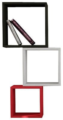 Kutugen Wall Shelf - Bookcase, Black-White-Red modern-display-and-wall-shelves