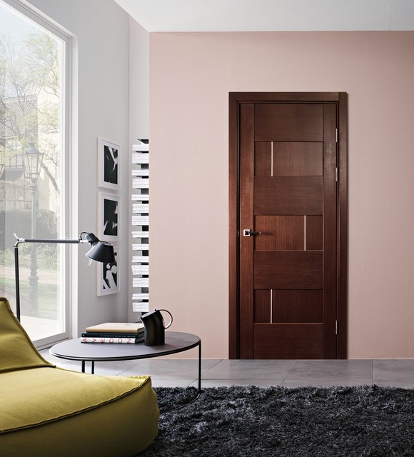 Dominika modern interior door wenge finish modern for Modern interior doors