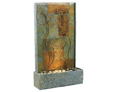 Kenroy Home Copper Vines Lighted Floor Fountain mediterranean outdoor fountains