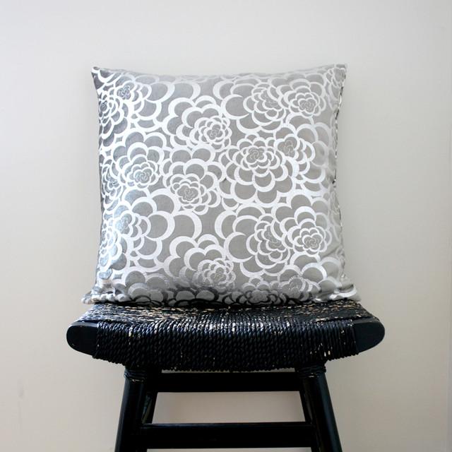 Silver Flower Pillow Cover contemporary-decorative-pillows