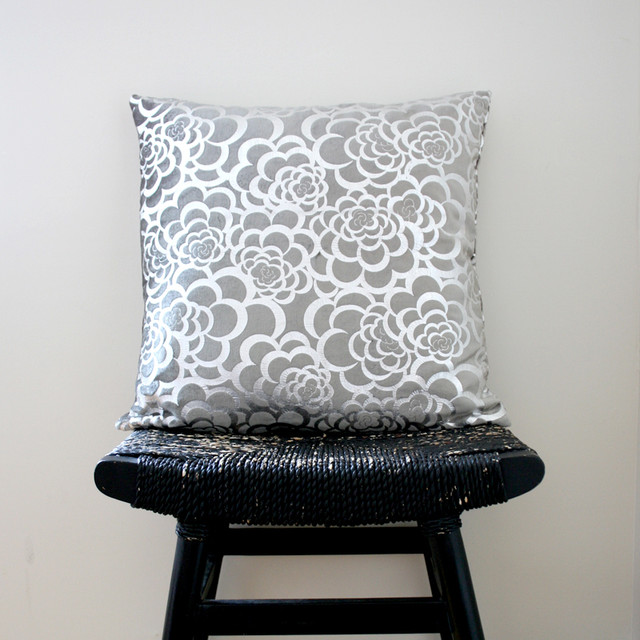 Silver Flower Pillow Cover contemporary-pillows