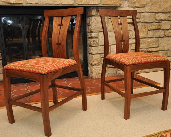 Walnut crotch dining table and chairs -