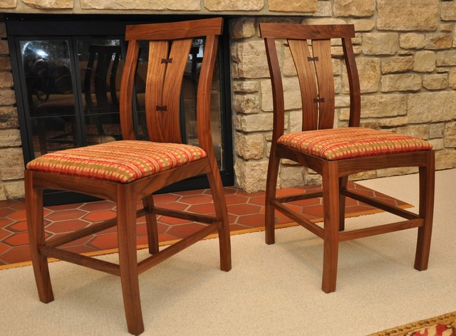 Walnut crotch dining table and chairs contemporary