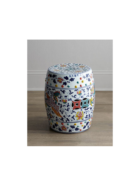 """Horchow - Dragon Garden Stool - With its traditional Asian motifs rendered in multiple vibrant colors against crisp white, this garden stool brings whimsy to the room as additional seating or a unique side table. Made of porcelain. Hand painted. 12.5""""Dia. x 16.75""""T. Imported. Box..."""