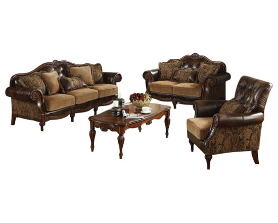 """Acme - 2 PC Dreena Two Tone Chenille Fabric and Bonded Leather Sofa and Love Seat Set - 2-Piece Dreena collection two tone chenille fabric and bonded leather upholstered sofa and love seat with wood trim accents. This set includes the sofa and love seat with two tone chenille fabric and bonded leather upholstery with decorative carving accents and nail head trim. Sofa measures 93"""" x 37"""" x 42"""" H. Love seat measures 70"""" x 37"""" x 42"""" H. Optional chair also available separately and chair measures 40"""" x 37"""" x 42"""" H. Some assemble may be required (attachment of feet)."""