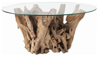 Kingston natural driftwood oval glass cocktail table from Tree trunk coffee table glass top