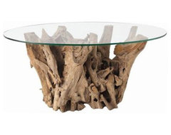 Kingston Natural Driftwood Oval Glass Cocktail Table from Arteriors Home eclectic coffee tables