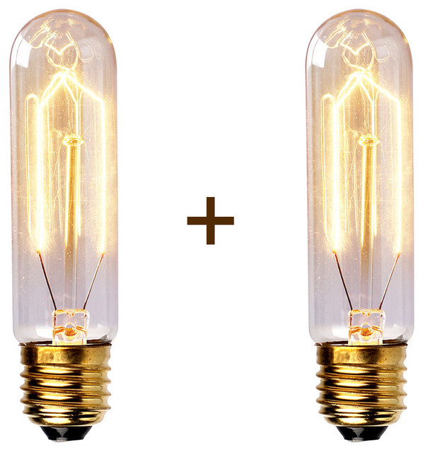 2 Packages Edison Tungsten Filament Light Bulb T10 Modern Incandescent Bulbs By Parrotuncle
