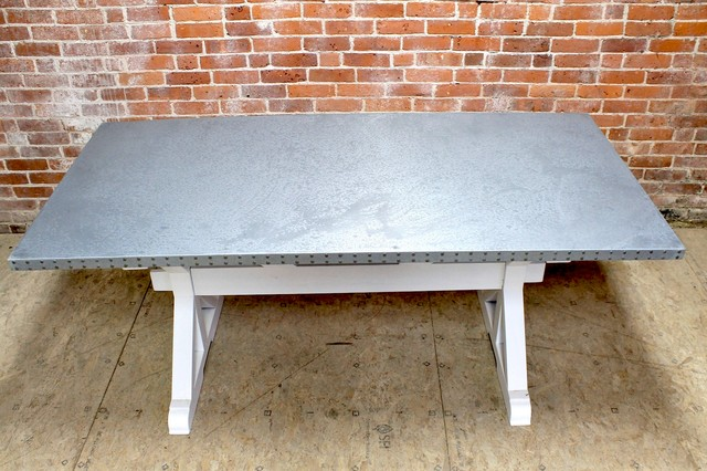 Zinc top dining table trestle base traditional dining for Traditional dining table bases