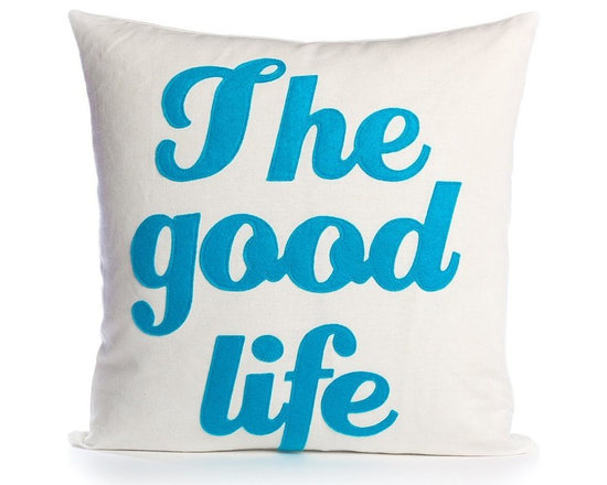 Alexandra Ferguson - Alexandra Ferguson The Good Life Pillow-Cream/Turquoise - Available in small and largeRecycled polyester fill insert included. The felt that I use is made from 100 percent post consumer recycled water bottles. So, you drink water, throw the empty bottle in the recycling bin. Then they are melted down and turned them into this beautiful, really high quality soft felt that I then use to make pillows. All pillows have a nylon zipper closure, with the Alexandra Ferguson logo embroidered on the center back bottom. Prefer a woven fabric base? Opt for our hemp blend - this imported fabric is 55% hemp / 45% organic cotton, is sustainable and biodegradable, and made from socially responsible practices.