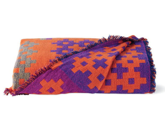 Rolf Hay - Plus 9 Throw, Orange - The geometric pattern and color combination make this a great piece to add some pop to a neutral space.