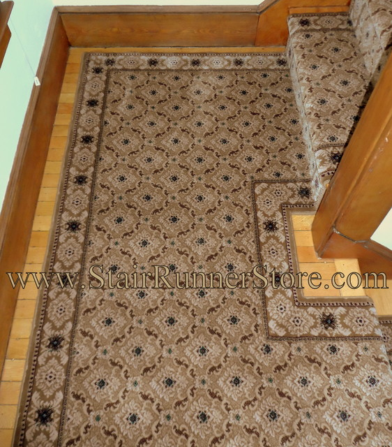 Double Landing Stair Runner Installations Traditional
