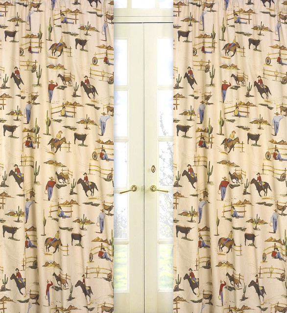 ... Cowboy and Horses 84-inch Curtain Panel Pair contemporary-curtains