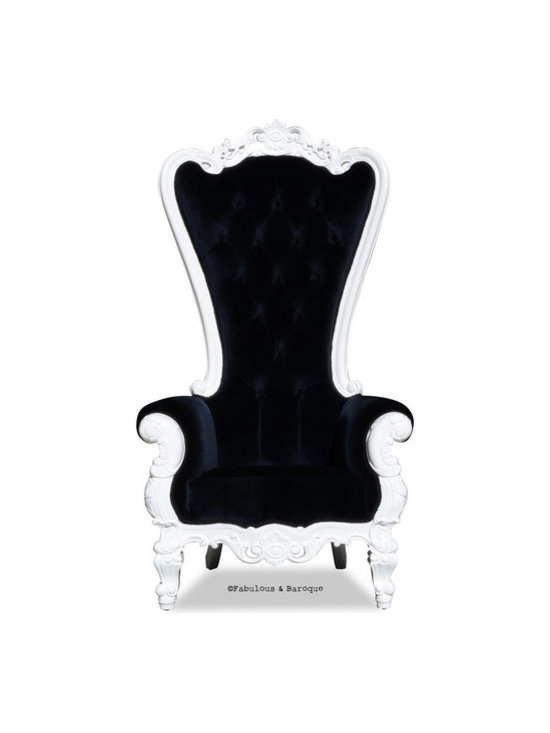 Fabulous and Baroque's Chairs & Benches - Absolom Roche Chair- white lacquer and black velvet