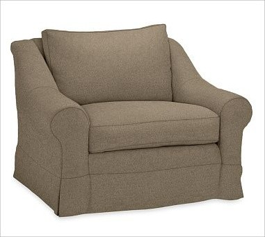 Windsor Armchair Slipcover, Box Cushion, everydaysuede(TM) Pewter traditional-chairs