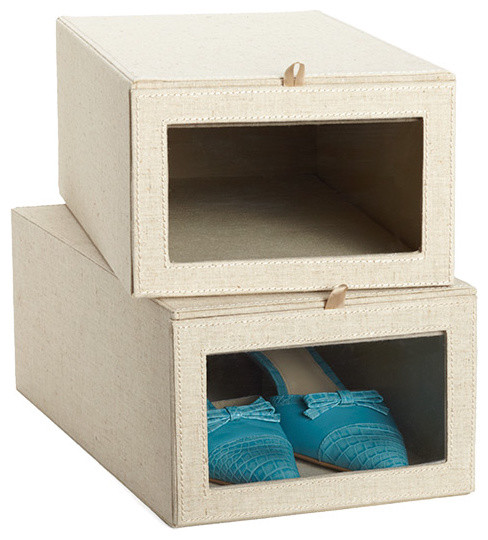 Linen Drop-Front Shoe Box - Contemporary - Closet Storage - by The Container Store