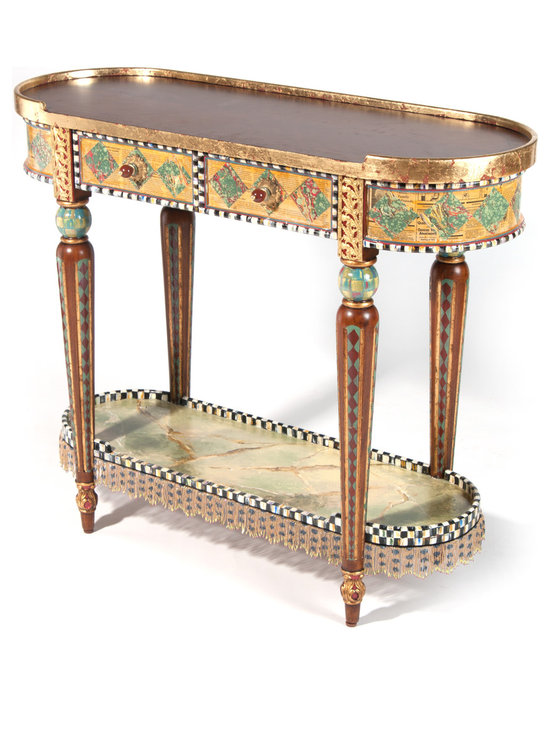 Highland Console Table | MacKenzie-Childs - Classic size and charming pastiche of patterns make this the goes-everywhere piece of the season. Our Highland Console Table features a campaign finish top with wood inlays. To this, our artisans add gold leaf, Courtly Check®, faux marbling, polka-dot beaded fringe, and lacquer-finished antiqued newspaper and Florentine papers. Drawer pulls include jade, bamboo, and stone ornaments. The interior of the console drawer is lined in a whimsical woven fabric of gold polka dots on a red background.