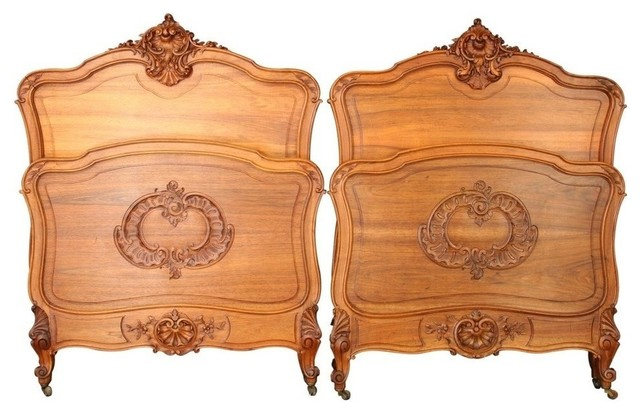 Pair Consigned Antique French Twin Beds  Louis Xv Traditional