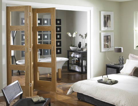 Oak 4 light clear glass Folding Internal Door contemporary-interior-doors