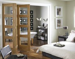Oak 4 light clear glass Folding Internal Door contemporary interior doors