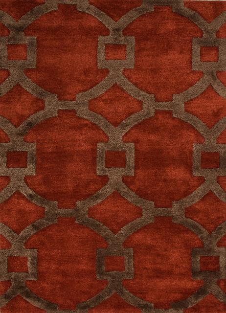 Modern Geometric Pattern Red Orange Wool Silk Tufted Rug