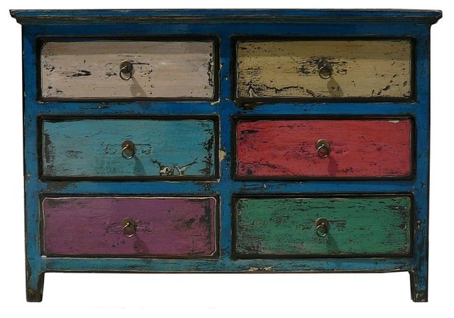 blue multi color 6 drawers side table drawers eclectic