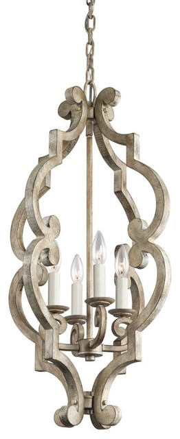 Traditional Foyer Chandeliers : Traditional french country antique white distressed foyer