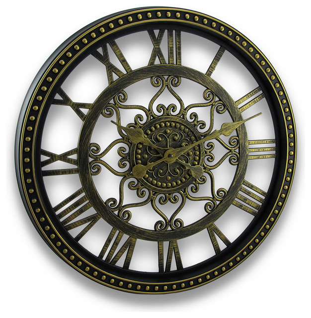 Aged Bronze Finish Cut Out Scroll Design Wall Clock 19 In