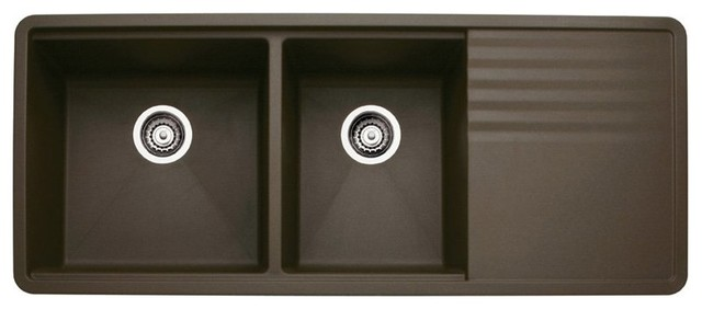 Double Undermount Sink With Drainer : Blanco Precis 440399 Double Basin Undermount Kitchen Sink with Drainer ...