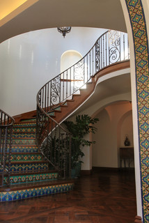 Malibu Tile Arches with Wrought Iron Stair Rail ...