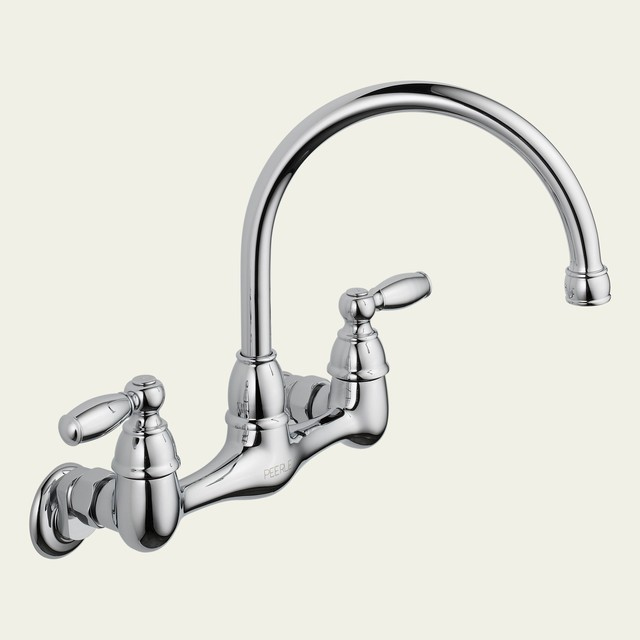 peerless p299305lf choice two handle wall mounted kitchen felicity wall mount kitchen faucet with side spray