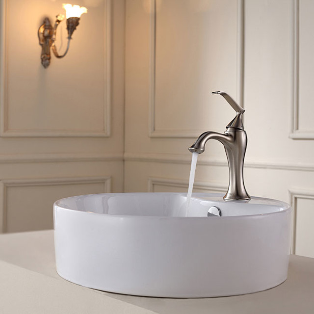 Kraus Bathroom Combo Set White Round Ceramic Sink/Ventus Bas-inch Faucet contemporary-bathroom-faucets-and-showerheads