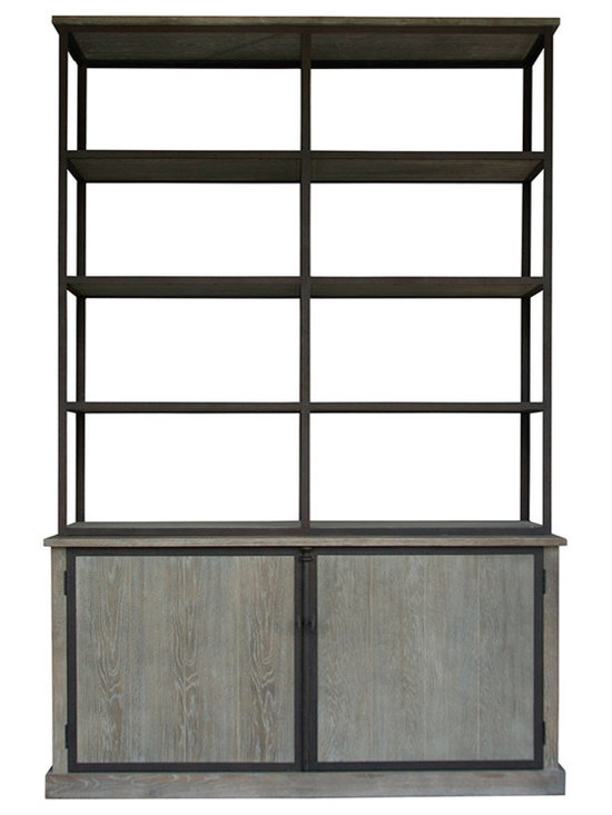 """Zentique - Zentique Lincoln Large Cabinet - Zentique's Lincoln large cabinet introduces rustic texture and industrial style to transitional interiors. Framed by iron, this furnishing's four open and two concealed oak shelves provide practical storage. 66""""W x 16""""D x 103""""H; Limed gray oak; Six shelves"""