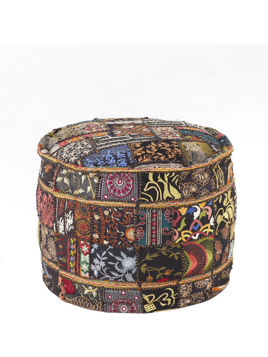 Patchwork Pouf - This gorgeous global patchwork pouf from Horchow is absolutely divine.