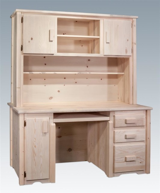 Wooden Desk With Hutch - Rustic - Desks And Hutches - by ShopLadder