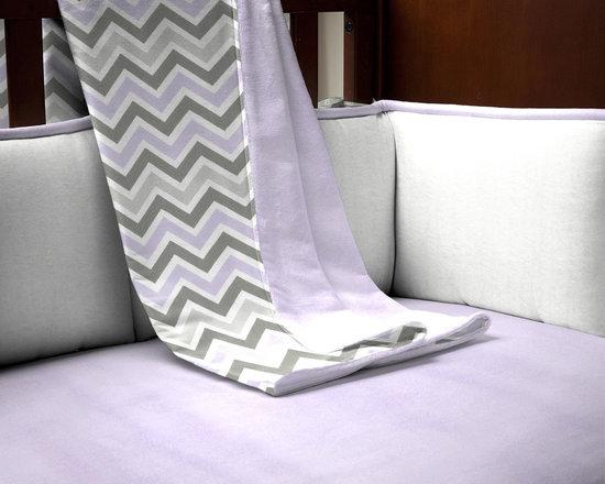 Lilac and Slate Gray Crib Blanket -