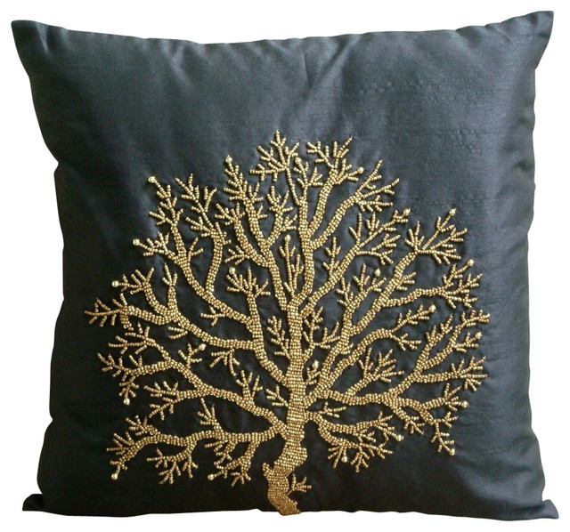Celebrated Tree Decorative Black Silk Throw Pillow Cover, 24x24 - Contemporary - Bed Pillows ...