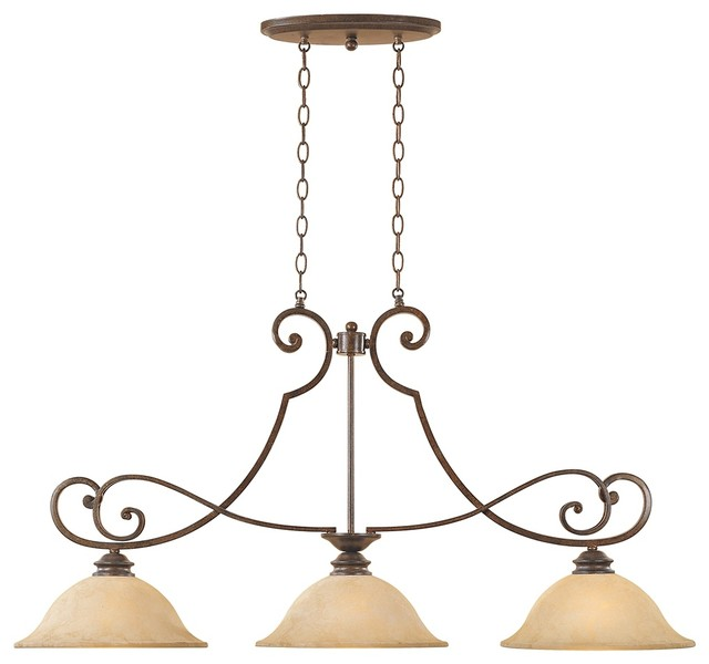 Traditional Mendocino Forged Sienna 3-Light Island Chandelier traditional-chandeliers