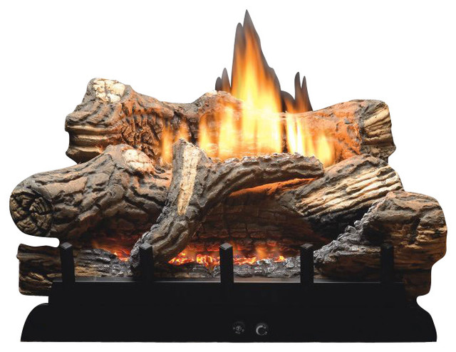 Thermostat 5 Piece 18 Ceramic Fiber Log Set Natural Gas Modern Fireplace Accessories By